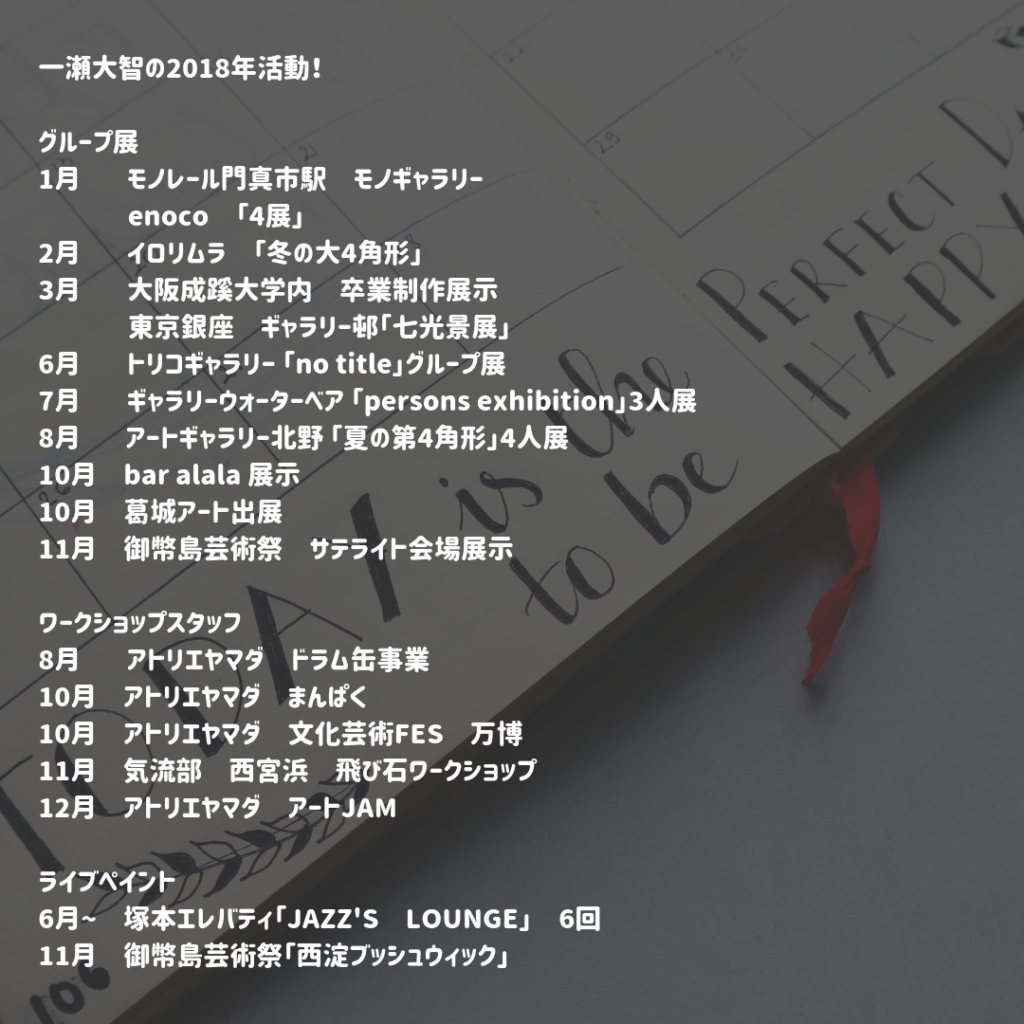 2018年のグループ展・ワークショップスタッフ・ライブペイント